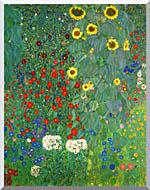 Gustav Klimt Farm Garden With Sunflowers Portrait Detail stretched canvas art