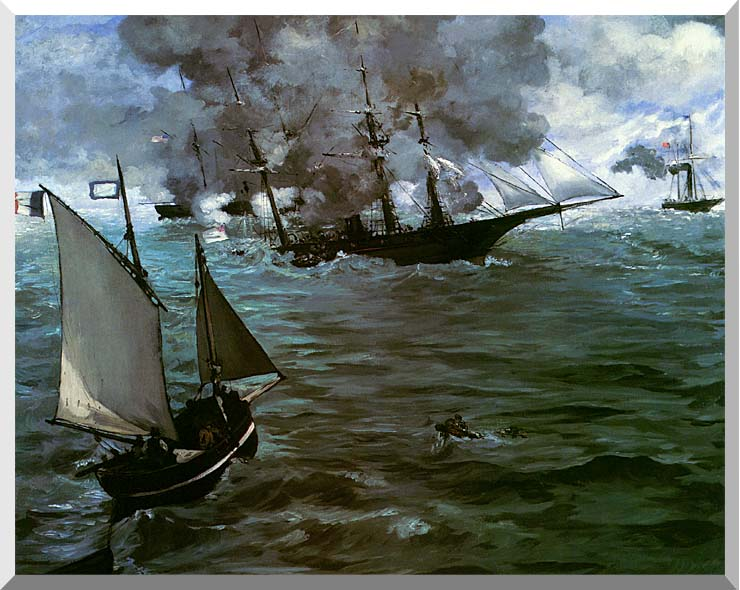 Edouard Manet Battle of the Kearsarge and the Alabama (detail) stretched canvas art print