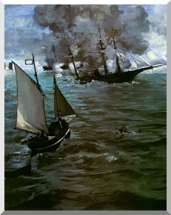 Edouard Manet Battle of the Kearsarge and the Alabama (portrait detail) stretched canvas art print