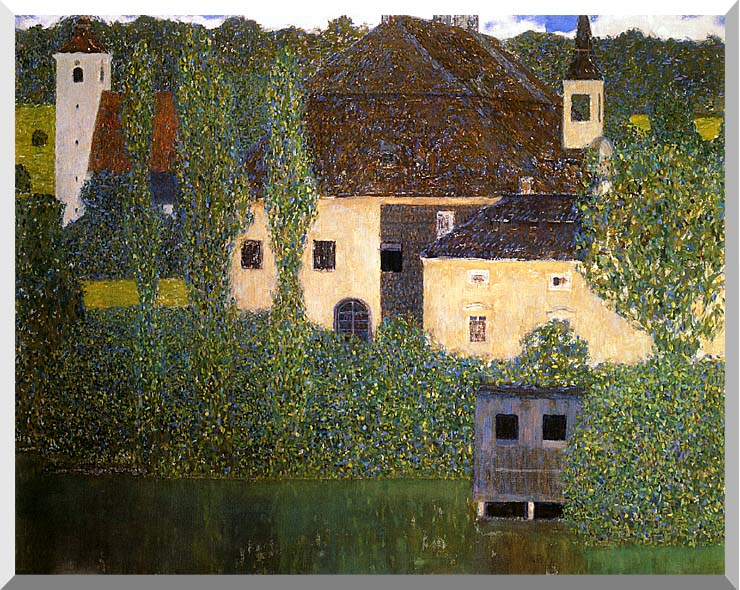 Gustav Klimt Schloss Kammer on the Attersee I (detail) stretched canvas art print