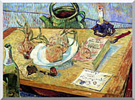 Vincent Van Gogh Still Life Plate With Onions Drawing Board Pipe And Other Objects stretched canvas art
