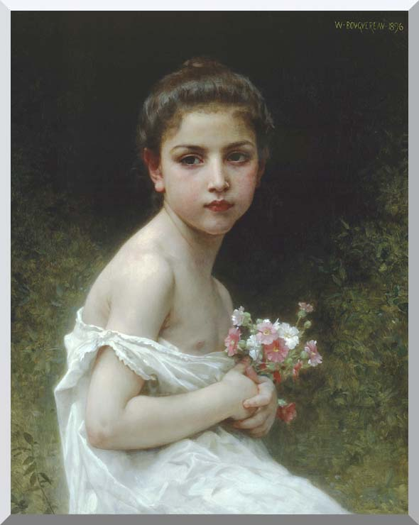 William Bouguereau Little Girl with a Bouquet stretched canvas art print