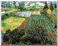 Vincent Van Gogh Field With Poppies stretched canvas art