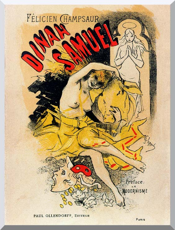 Jules Cheret Cover for Felicien Champsaur's Dinah Samuel stretched canvas art print