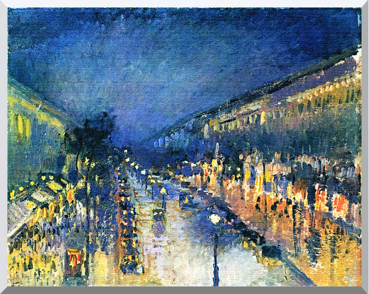 Camille Pissarro Boulevard Montmartre, Night Effect stretched canvas art print