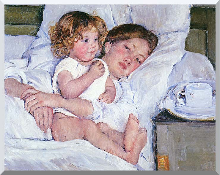 Mary Cassatt Breakfast in Bed stretched canvas art print