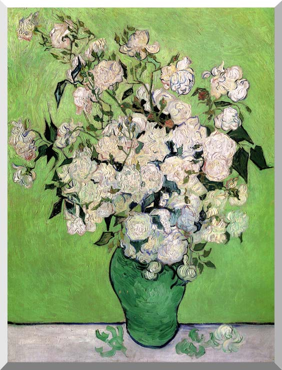Vincent van Gogh Vase with Pink Roses III stretched canvas art print