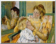 Mary Cassatt Mother Combing Her Childs Hair stretched canvas art