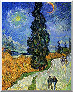 Vincent Van Gogh Road With Men Walking Carriage Cypress Star And Crescent Moon stretched canvas art