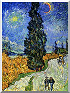 Vincent Van Gogh Road With Men Walking Carriage Cypress Star And Crescent Moon 1890 stretched canvas art