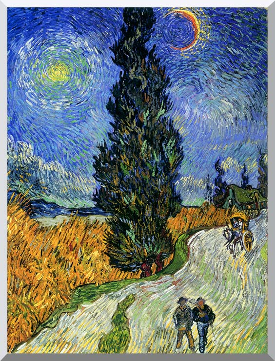 Vincent van Gogh Road with Men Walking, Carriage, Cypress, Star and Crescent Moon 1890 stretched canvas art print