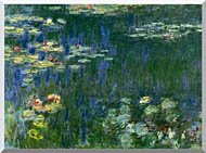 Claude Monet Green Reflections I Left Detail stretched canvas art