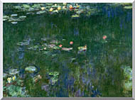 Claude Monet Green Reflections II Center Detail stretched canvas art