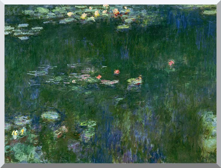 Claude Monet Green Reflections II (center detail) stretched canvas art print