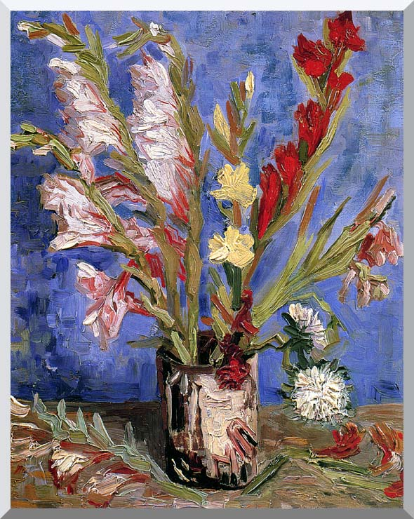 Vincent van Gogh Vase with Gladioli stretched canvas art print