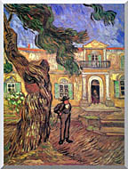 Vincent Van Gogh Pine Tree And Figure In Front Of The Saint Paul Hospital stretched canvas art
