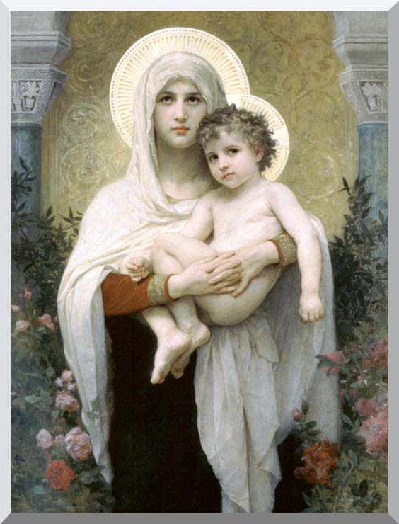 William Bouguereau Madonna of the Roses stretched canvas art print