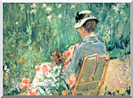 Mary Cassatt Lydia Seated In The Garden With A Dog stretched canvas art