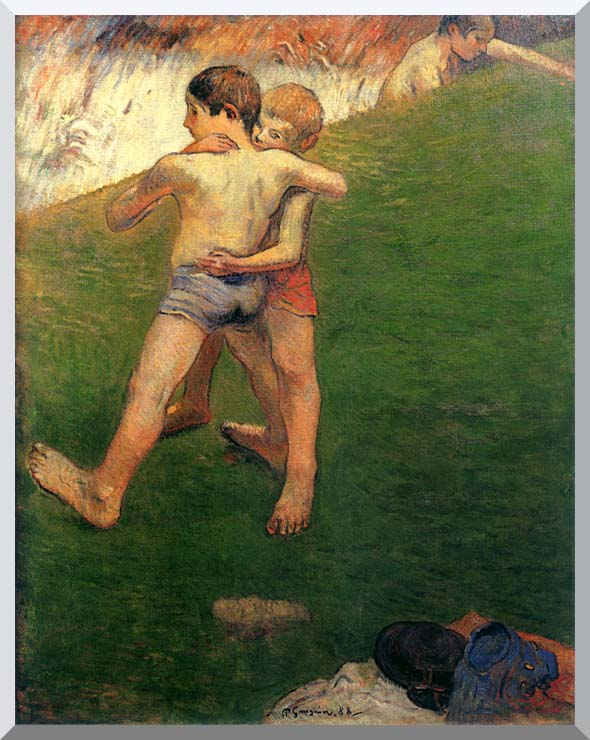 Paul Gauguin Boys Wrestling stretched canvas art print