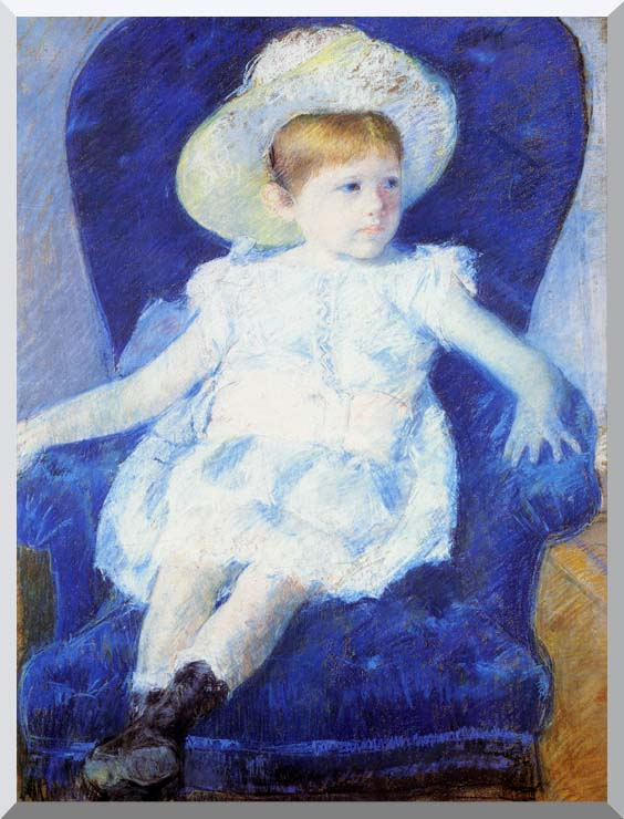 Mary Cassatt Elsie in a Blue Chair stretched canvas art print