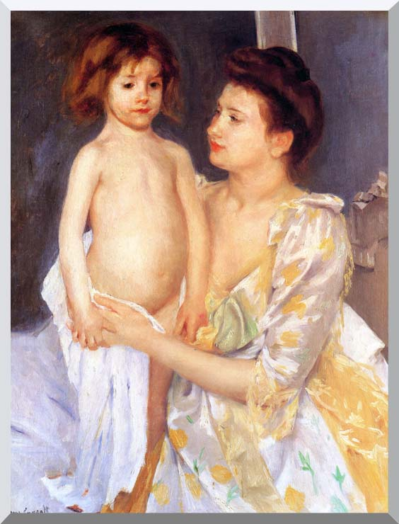 Mary Cassatt Jules Being Dried by his Mother stretched canvas art print