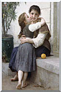 William Bouguereau A Little Coaxing stretched canvas art