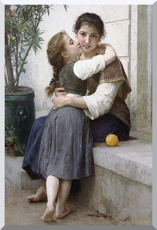 William Bouguereau A Little Coaxing stretched canvas art print