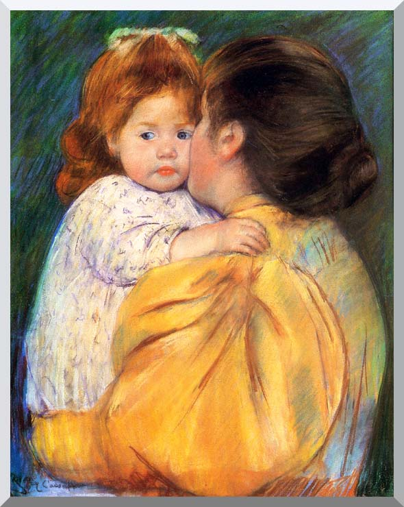 Mary Cassatt Maternal Kiss stretched canvas art print