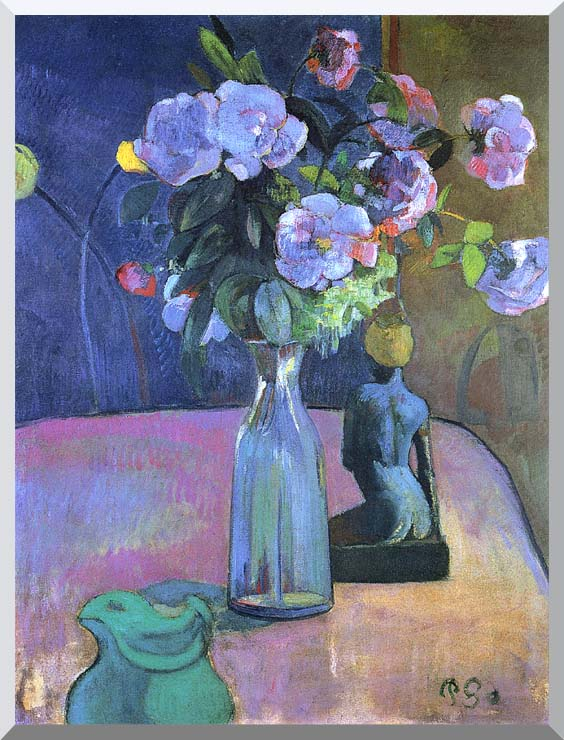 Paul Gauguin Roses and Statuette stretched canvas art print