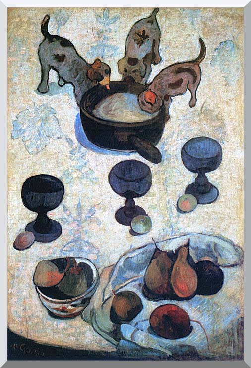 Paul Gauguin Still Life with Three Puppies stretched canvas art print