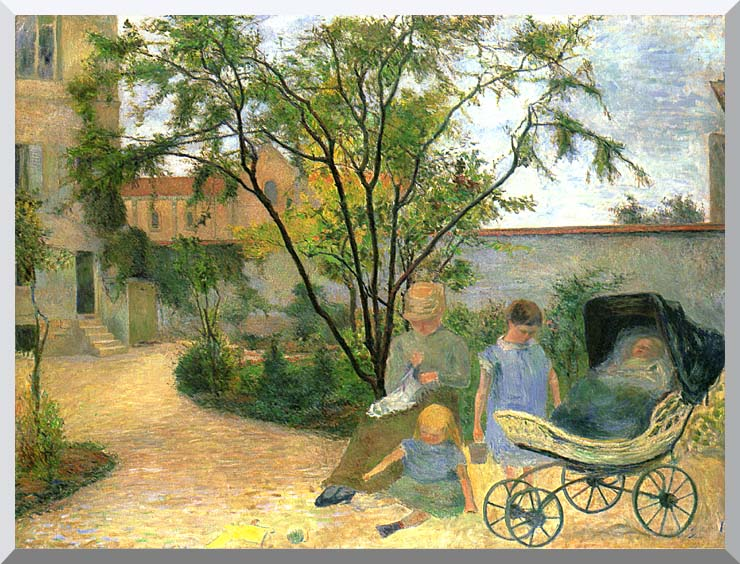 Paul Gauguin The Artist's Family in the Garden of Rue Carcel stretched canvas art print