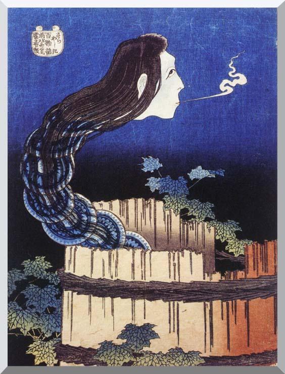 Katsushika Hokusai Okiku, The Plate Specter stretched canvas art print