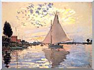 Claude Monet Sailboat At Petit Gennevilliers stretched canvas art