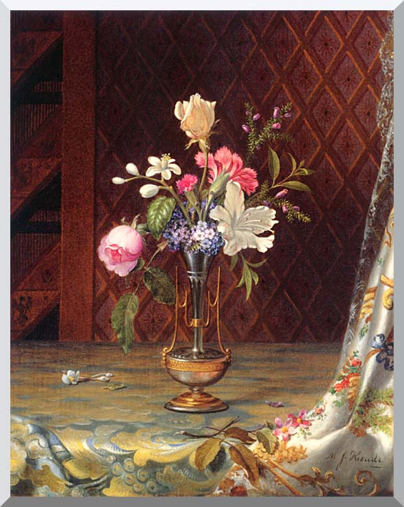 Martin Johnson Heade Vase of Mixed Flowers stretched canvas art print
