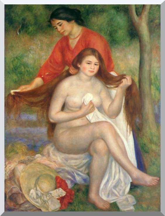 Pierre Auguste Renoir Bather and Maid stretched canvas art print