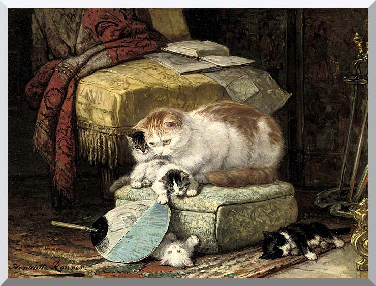 Henriette Ronner Knip A New Place to Hide stretched canvas art print