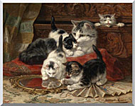 Henriette Ronner Knip Mother And Kittens Playing With A Hand Mirror stretched canvas art