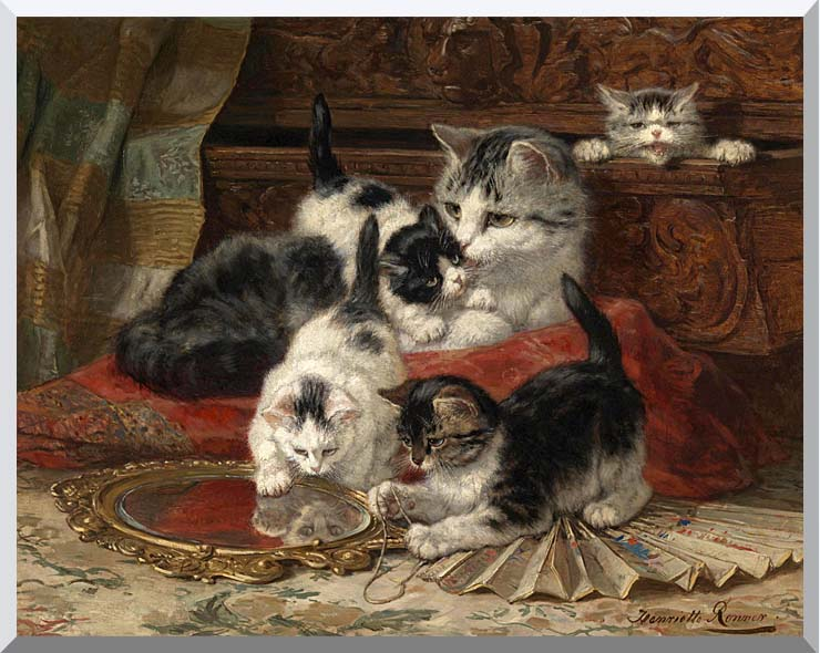 Henriette Ronner Knip Mother and Kittens Playing with a Hand Mirror stretched canvas art print