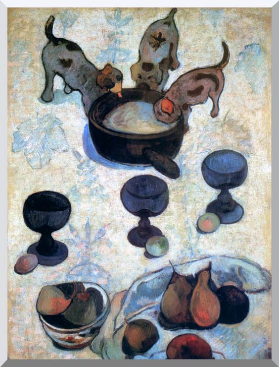Paul Gauguin Still Life with Three Puppies (detail) stretched canvas art print