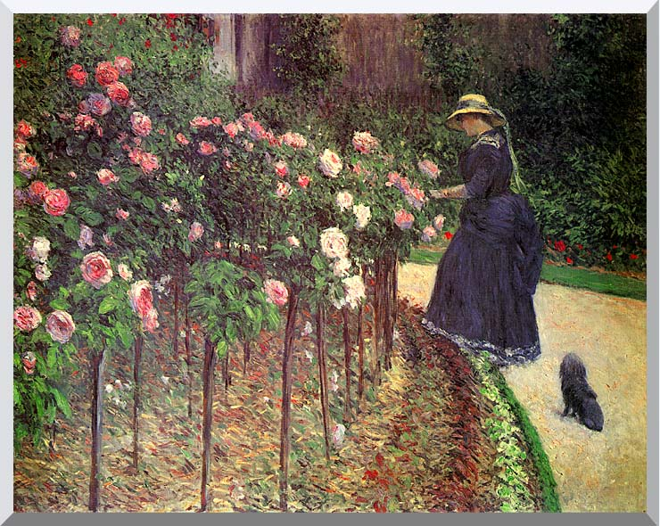 Gustave Caillebotte Roses, Garden at Petit Gennevilliers stretched canvas art print