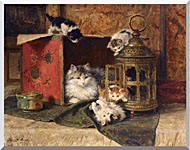 Henriette Ronner Knip A Mother Cat Watching Her Kittens Playing stretched canvas art