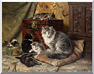 Henriette Ronner Knip A Cat And Her Kittens At Play stretched canvas art