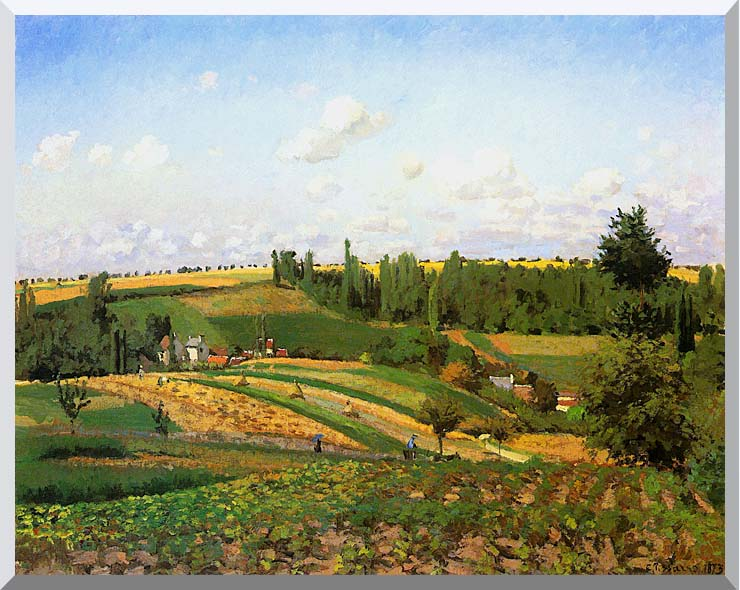 Camille Pissarro Harvest Landscape at Pontoise stretched canvas art print