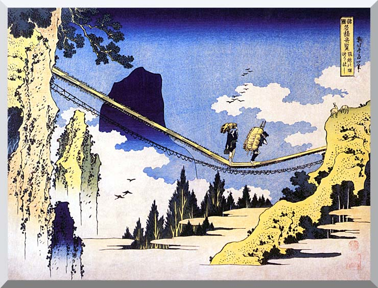 Katsushika Hokusai Farmers Crossing a Suspension Bridge on the Border of the Hilda and Etchu Provinces stretched canvas art print