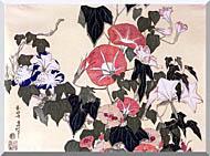 Katsushika Hokusai Morning Glories And Tree Frog stretched canvas art