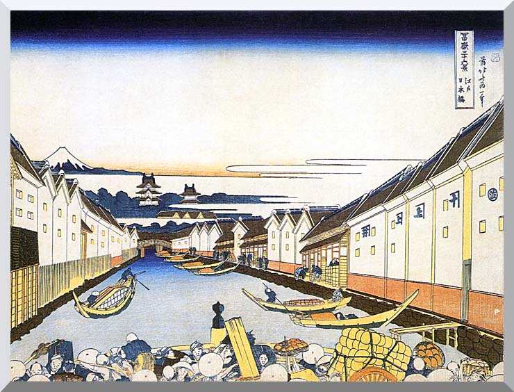 Katsushika Hokusai Mount Fuji and Edo Castle seen from Nihonbashi stretched canvas art print