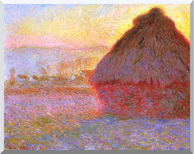 Claude Monet The Grainstack, Sunset stretched canvas art print