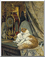 Henriette Ronner Knip A Mother Cat And Her Kitten With A Bracket Clock stretched canvas art