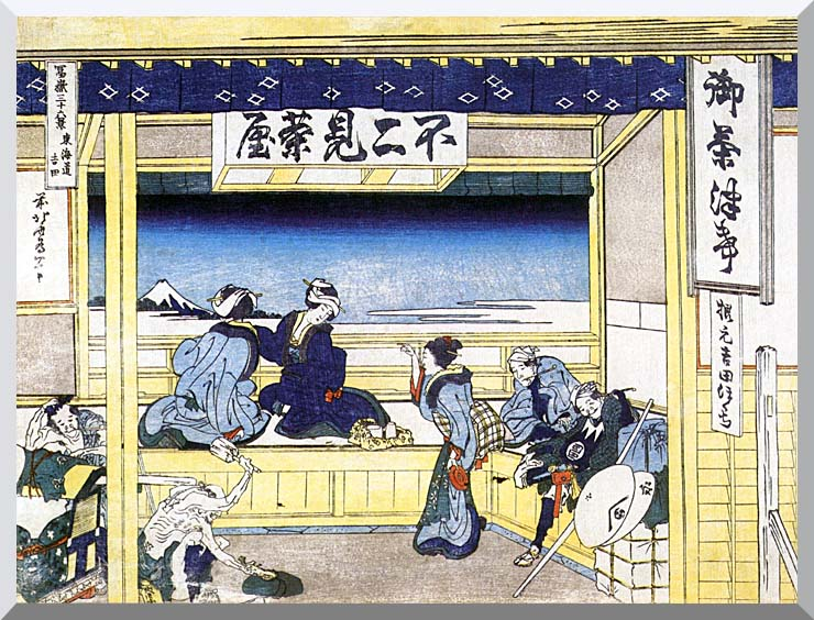 Katsushika Hokusai People Admiring Mount Fuji from a Tearoom at Yoshida stretched canvas art print