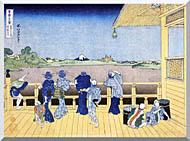 Katsushika Hokusai People On The Balcony Of The Gohyaku Rakan Temple stretched canvas art